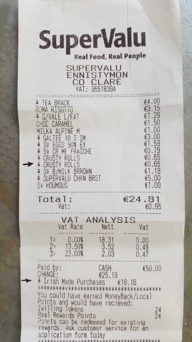 irish receipt