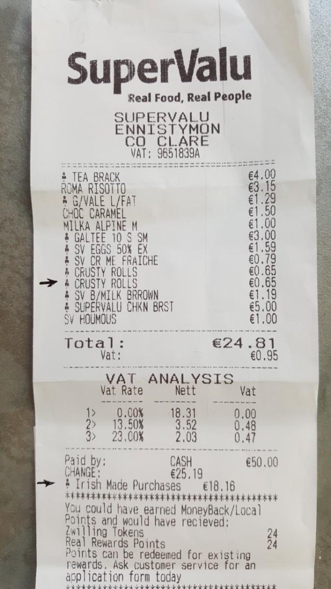 irish receipt